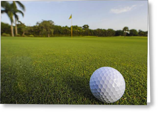 Golf Ball On Golf Course Greeting Card by M Cohen