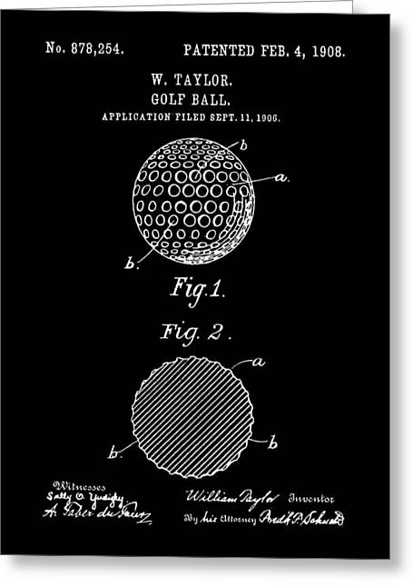 Golf Ball Patent 1906 - Black Greeting Card by Stephen Younts