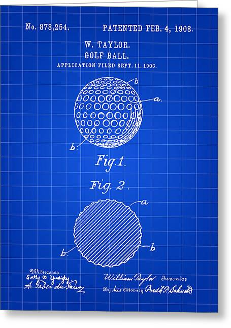 Golf Ball Patent 1906 - Blue Greeting Card by Stephen Younts