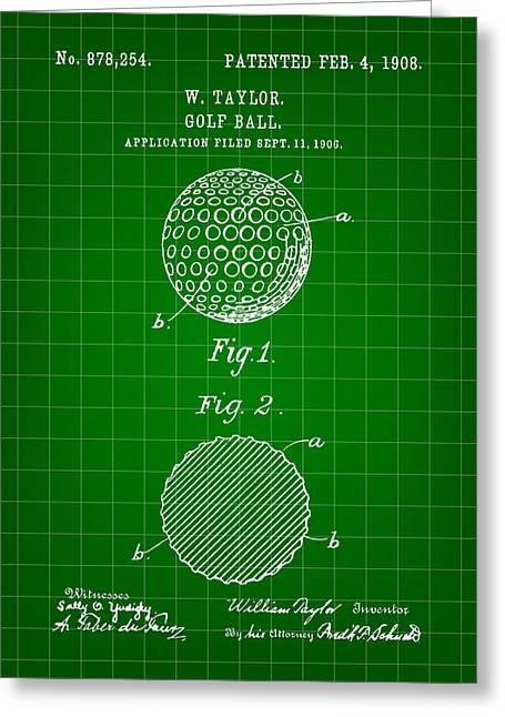 Golf Ball Patent 1906 - Green Greeting Card by Stephen Younts