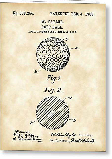 Golf Ball Patent 1906 - Parchment Greeting Card by Stephen Younts