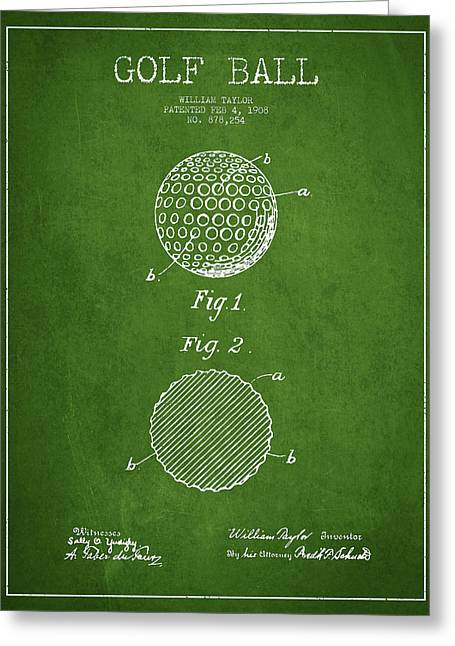 Golf Ball Patent Drawing From 1908 - Green Greeting Card by Aged Pixel