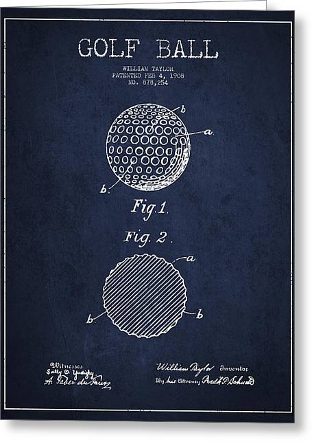Golf Ball Patent Drawing From 1908 - Navy Blue Greeting Card