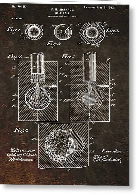 Golf Ball Patent On Leather Greeting Card by Dan Sproul