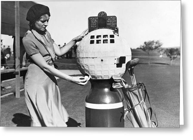 Golf Ball Refinisher Greeting Card by Underwood Archives