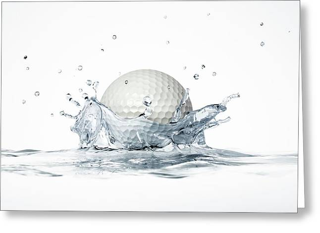 Golf Ball Splashing Into Water Greeting Card by Leonello Calvetti