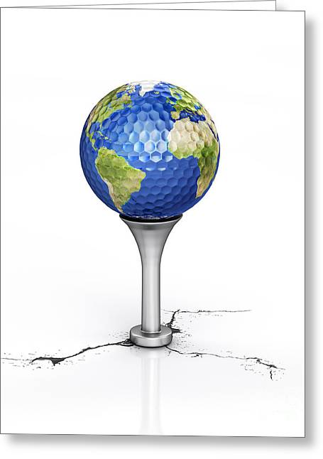 Golf Ball With The Texture Of Planet Greeting Card