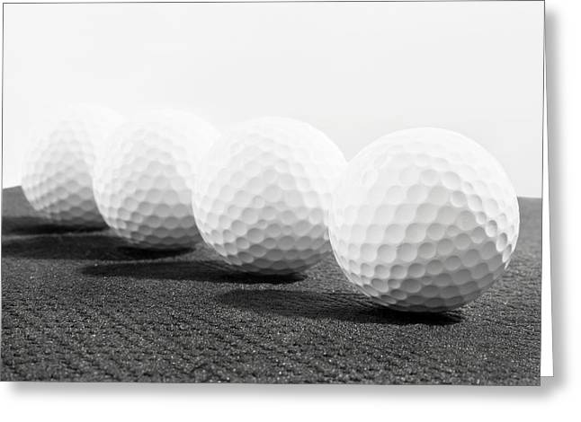 Golf Balls In A Row Greeting Card