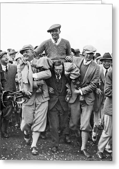 Golf Champion Celebrates Greeting Card by Underwood Archives