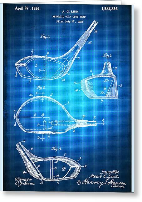 Golf Club Patent Blueprint Drawing Greeting Card by Tony Rubino
