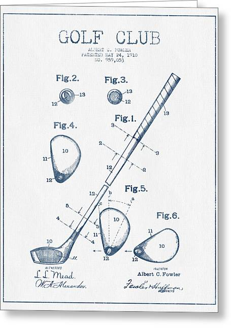 Golf Club Patent Drawing From 1910 - Blue Ink Greeting Card by Aged Pixel