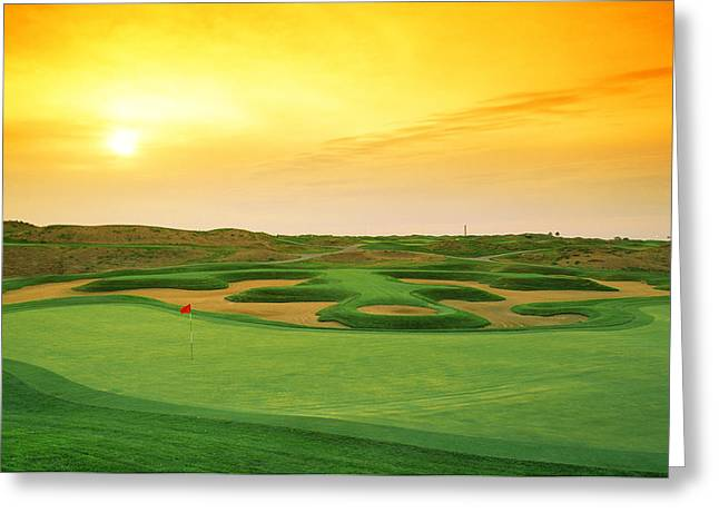 Golf Course At Dusk, Harborside Greeting Card