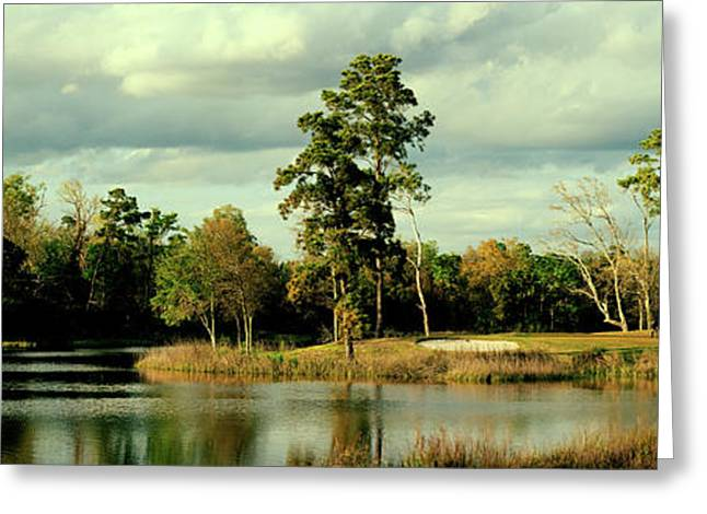 Golf Course At The Lakeside, Gray Greeting Card