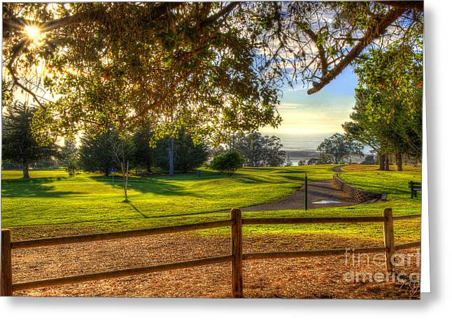 Golf Course Ocean View Greeting Card