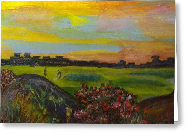 Golf Course Of My Imagination Greeting Card by Anne-Elizabeth Whiteway