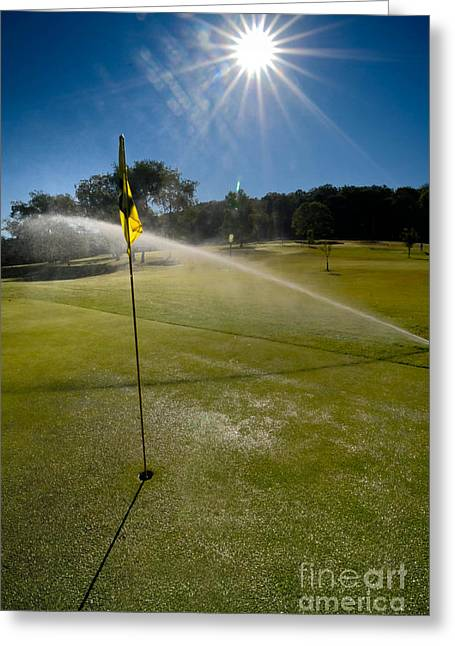 Golf Course Sprinkler On Sunny Day Greeting Card by Amy Cicconi