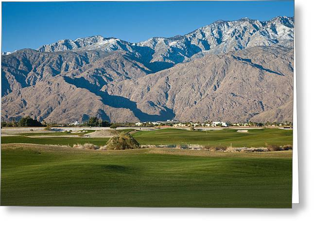 Golf Course With Mountain Range, Desert Greeting Card by Panoramic Images