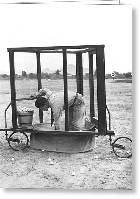 Golf Driving Range Safety Cart Greeting Card by Underwood Archives