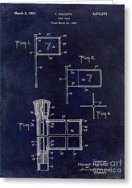 1937 Golf Flag Patent Drawing 2 Blue Greeting Card by Jon Neidert