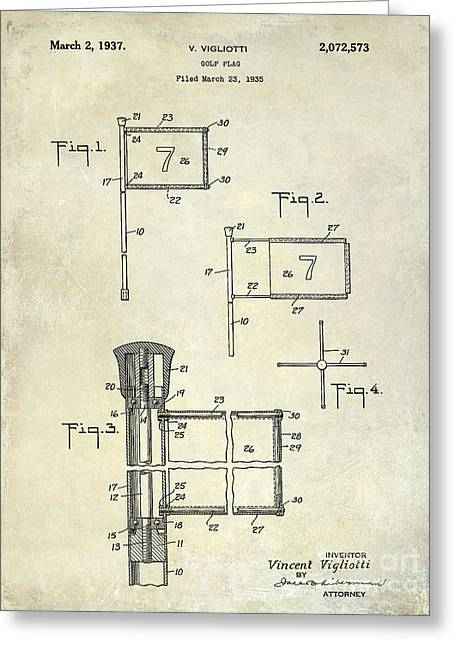 1937 Golf Flag Patent Drawing 2 Greeting Card by Jon Neidert