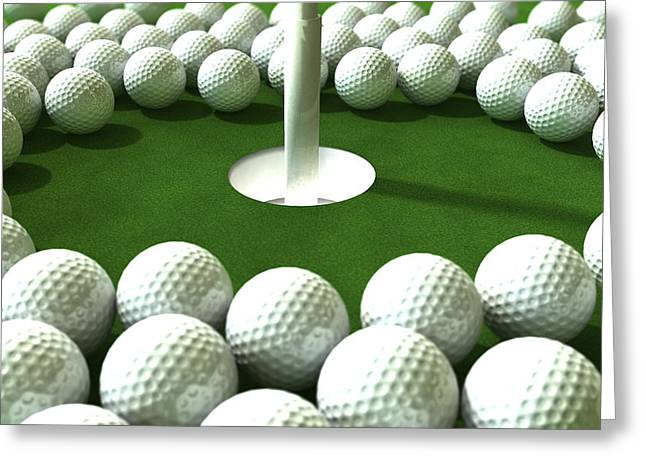 Golf Hole Assault Greeting Card by Allan Swart