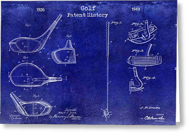 Golf Patent History Drawing Blue Greeting Card by Jon Neidert