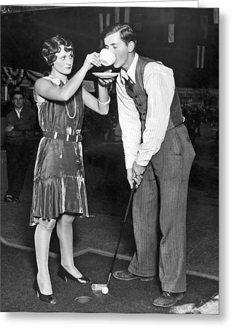 Golf Player Gets Coffee Boost Greeting Card by Underwood Archives