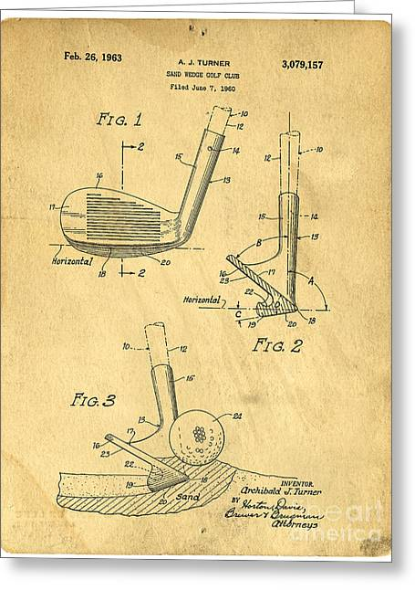 Golf Sand Wedge Patent Greeting Card by Edward Fielding