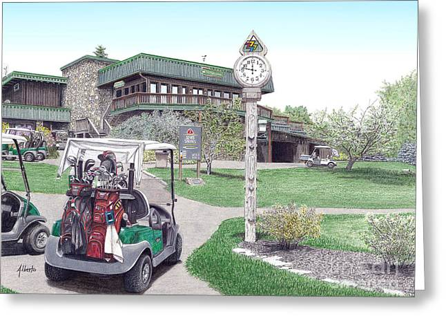 Greeting Card featuring the painting Golf Seven Springs Mountain Resort by Albert Puskaric