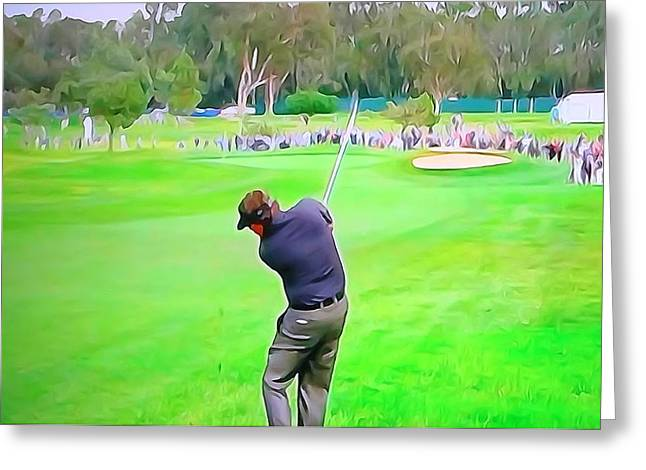 Golf Swing Drive Greeting Card by Dan Sproul