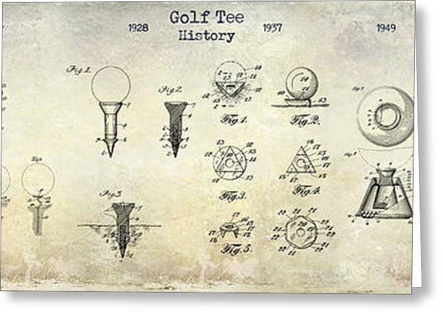 Golf Tee Patent History Drawing Greeting Card by Jon Neidert