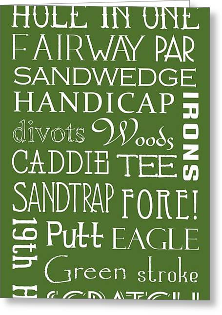 Golf Terms Greeting Card by Jaime Friedman