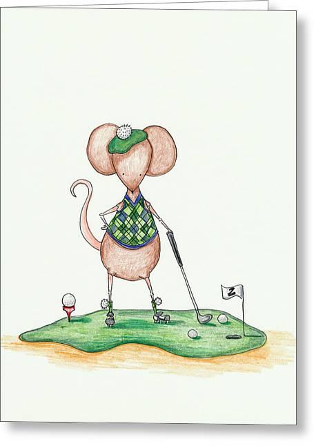 Golfer Mouse Greeting Card by Sarah LoCascio