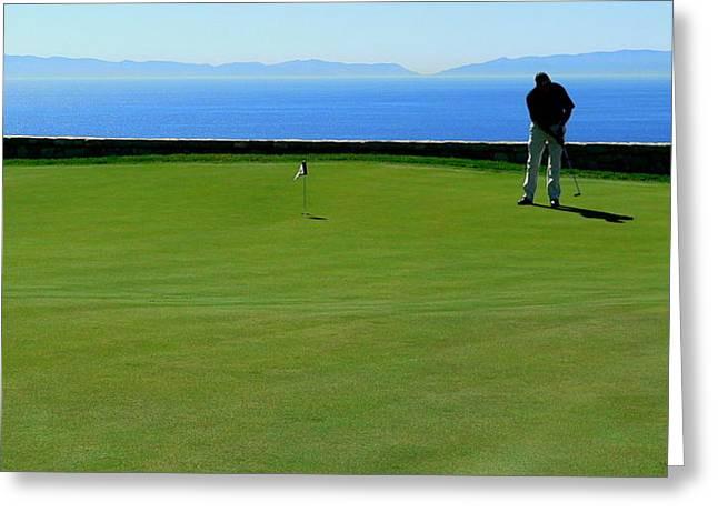 Golfer Putting Scenic Greeting Card