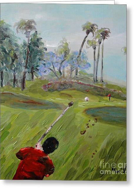 Greeting Card featuring the painting Golfing At Monarch by Maria Langgle
