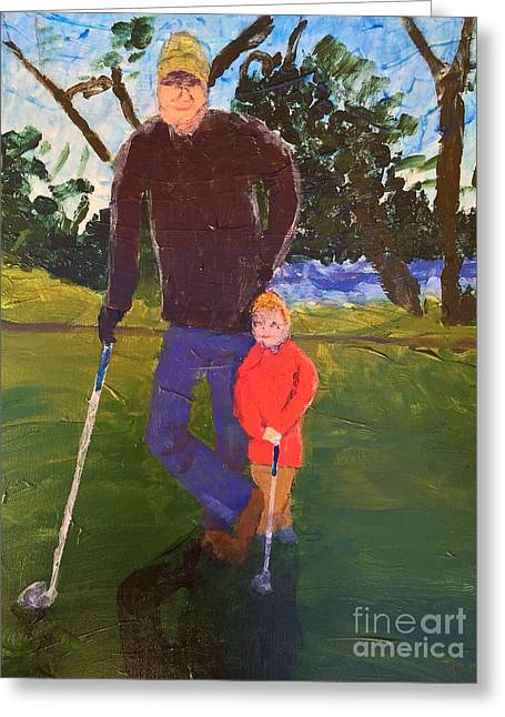 Greeting Card featuring the painting Golfing by Donald J Ryker III