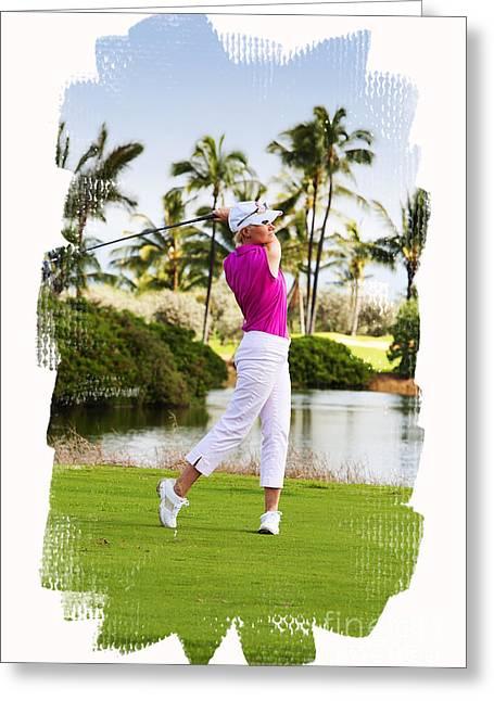 Golfing In Hawaii Greeting Card by Jan Tyler