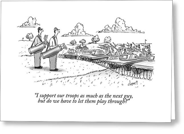 Golfing Through A Warzone Greeting Card