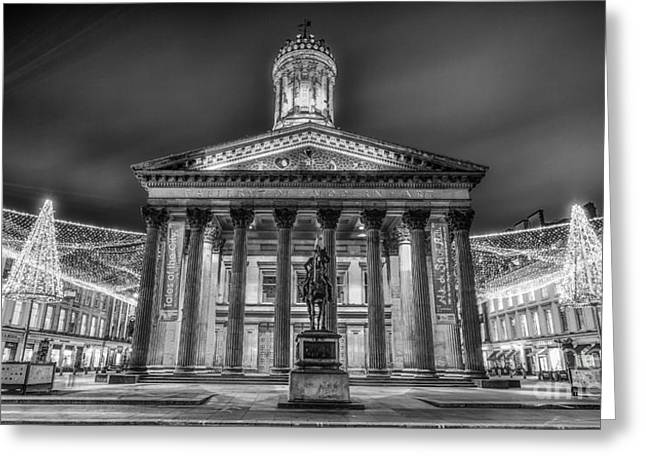 Goma Glasgow Lit Up Mono Greeting Card by John Farnan