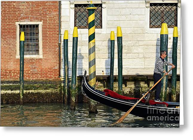 Gondola By Buildings On Grand Canal Greeting Card by Sami Sarkis