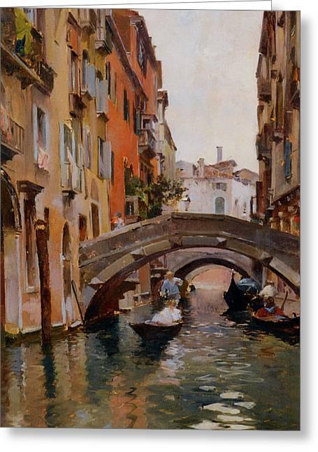 Gondola On A Venetian Canal Greeting Card by Rubens Santoro