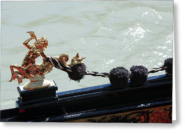Gondola Ornament Triton Blowing A Seashell Venice Italy Greeting Card by Sally Rockefeller