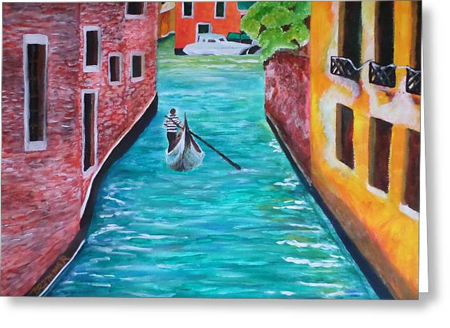 Gondola Time Greeting Card by Christy Saunders Church