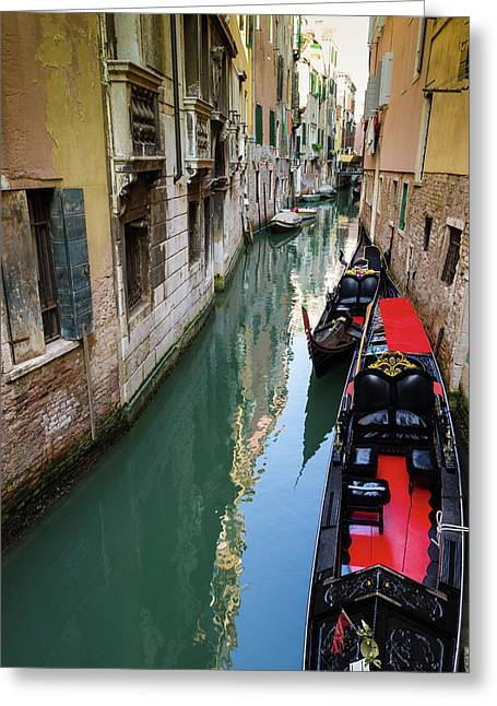 Gondolas And Canal, Venice, Veneto Greeting Card by Russ Bishop