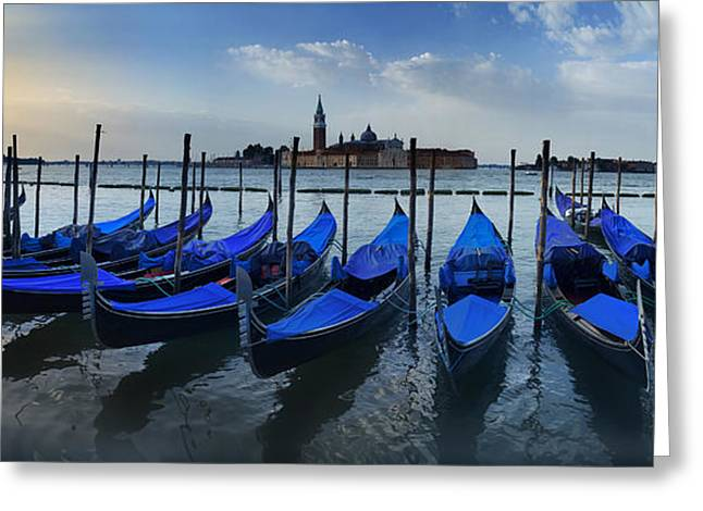 Gondolas And San Giorgio Maggiore By Dawn Greeting Card by Simon Kayne