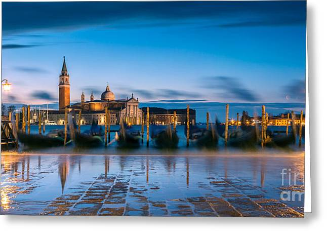 Gondolas At Dawn With High Tide - Venice - Italy Greeting Card by Matteo Colombo