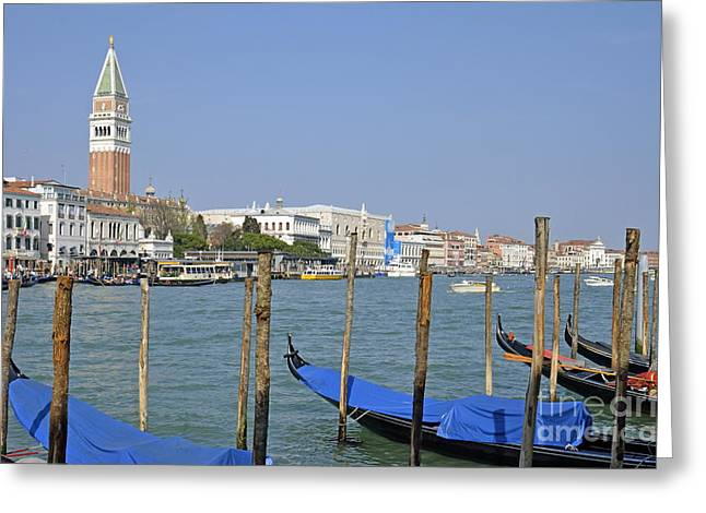 Gondolas At Pier By Grand Canal Greeting Card by Sami Sarkis