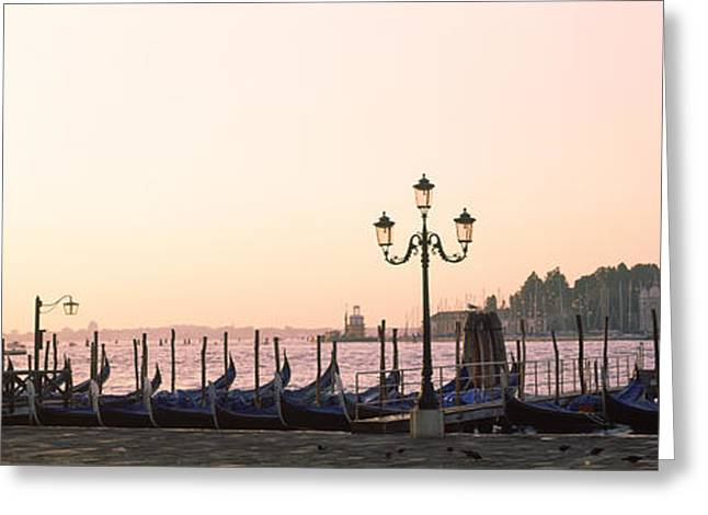 Gondolas In Early Morning With Church Greeting Card