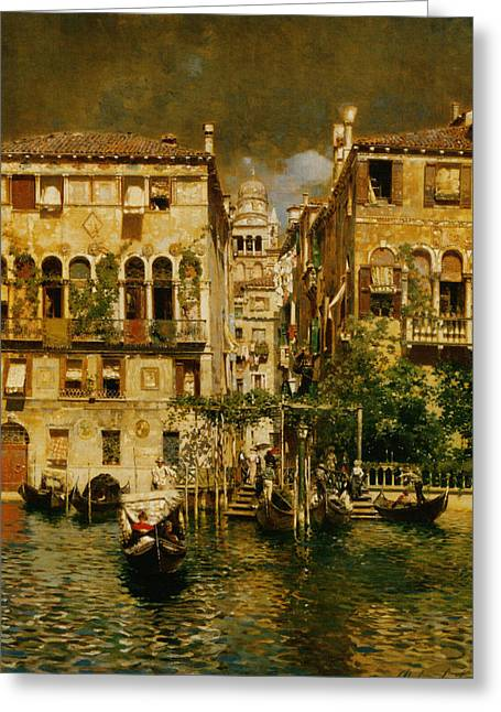 Gondolas Leaving A Residence On The Grand Canal Venice Greeting Card by Rubens Santoro