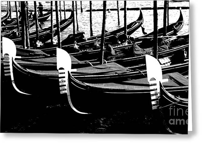 Gondolas Lined Up Greeting Card by Jacqueline M Lewis